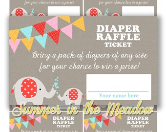 Diaper Raffle Tickets, Elephant Baby Shower, Elephant Diaper Raffle Cards, Gender Neutral, Raffle Tickets for Baby Shower, Printable