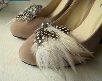 Shoe Clips, Feather Shoe Clips, Black, White, Ivory, Bridal Wedding, Womens, Girls, Gift Ideas