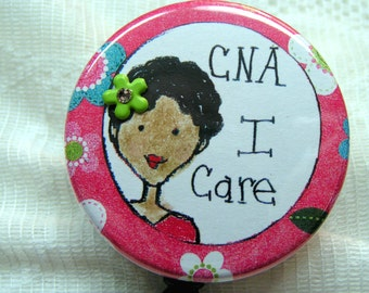 id badge holder for CNA,pink id badge for nurses aide,pretty id badge holder for African American nurses aide,pink id for black CNA