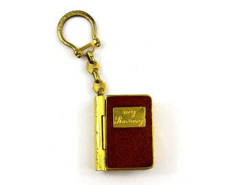 1940s Vintage LORD Patent My Rosary Holder Key Chain, Rare Italy Lord Patent Bible Shape Brass Metal & Leather Keychain