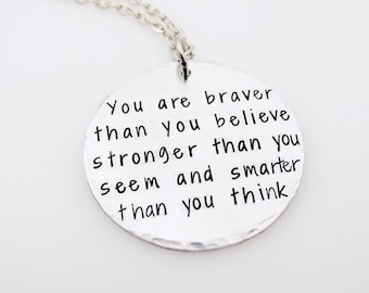 Braver Stronger Smarter, Handstamped Necklace, Gift for her, Inspirational Jewelry, Quote Jewelry, Gift for Daughter, Graduation gift her