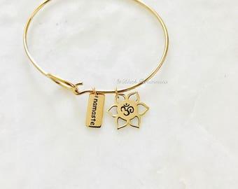 Namaste with Lotus Flower Ohm Charm Bangle Bracelet - Natural Bronze - Insurance Included