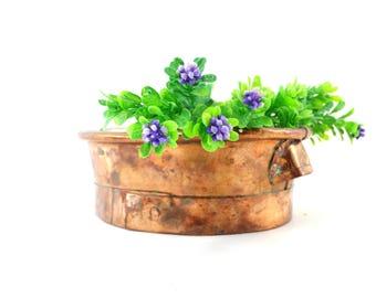 Copper Planter - Copper Bowl - Hammered Oval Copper Planter - Rustic Copper Dish - Handcrafted Copper Planter Bowl - Herb Planter
