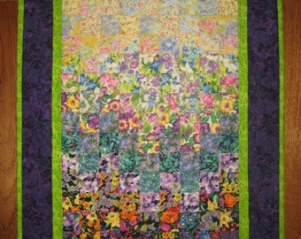 """Sunny Garden Purple Green Art Quilt Fabric Quilted Wall Hanging, 19 x 24"""", 100% cotton fabrics"""