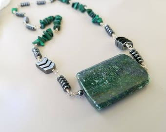 Green With Envy Necklace, Malachite & Hematite, Sterling Silver Necklace, and Large Rustic Fuchsite Pendant