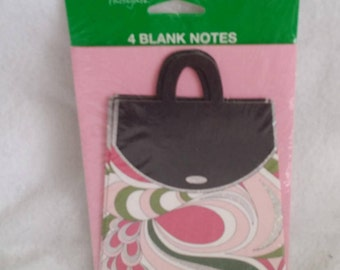 Tender Thoughts Blank Note cards - handbag, purse, with pink envelopes 4 count- mod paisley