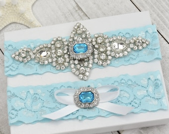 Garter Set, Bridal Garter, Wedding Garter, Blue Garter, Lace Garter, Bridal Garter Set, Lace Garter Set, Crystal Blue Garter Set.