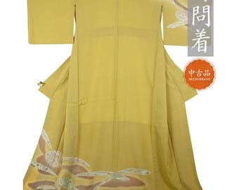 FREE SHIPPING - One of a Kind Genuine Japanese Silk Kimono - Mustard Yellow