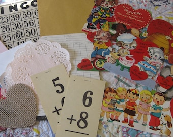 Lot THREE Vintage Valentine 18 Piece Ephemera Bundle