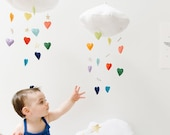 Luxe Heart Bright Rainbow Cloud Mobile - Childrens fabric mobile sculpture decoration for baby nursery- Free US Shipping