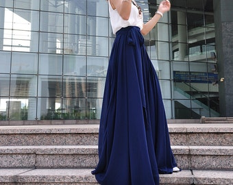 High Waist Maxi Skirt Chiffon Silk Skirts Beautiful Bow Tie Elastic Waist Summer Skirt Floor Length Long Skirt (037), #18