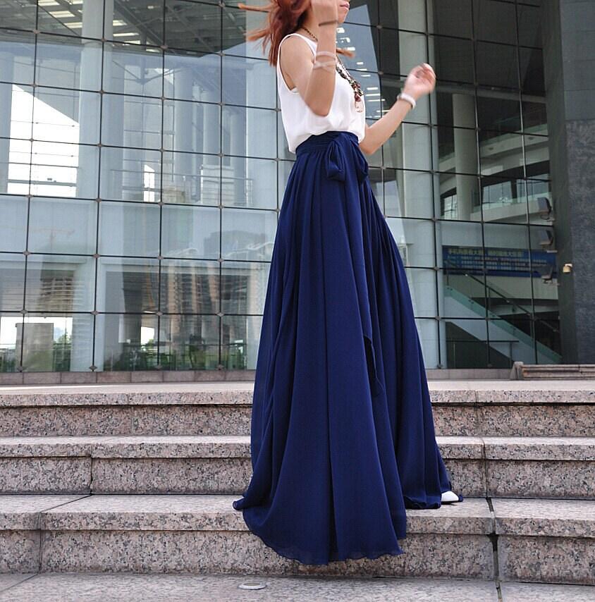 3cec5f6b13f Relatively High Waist Maxi Skirt Chiffon Silk Skirts Beautiful Bow Tie MD49