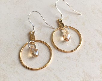Bridesmaids Earrings, Wedding Jewelry, Gold Earring, Chalcedony Earring, Mixed Metal Earring, Dangle Earring, Jewelry for Girls, Small, Hoop