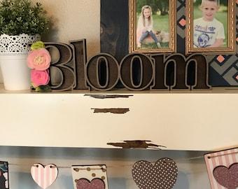 Bloom Wooden Marquee Cutout, Laser Cut Wood Letter Bloom Felt Flower Sign, Floral Sign Wooden Wall Decor, Marquee Style Wood Letter Cutout