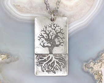 World Tree Necklace, Stainless Steel Etched - LARGE Norse Yggdrasil on Chain