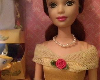 Disney CHARMING PRINCESS BELLE Barbie Doll Set Includes 3 Charms & Bracelet