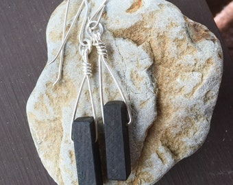Ebony wood and sterling silver earrings