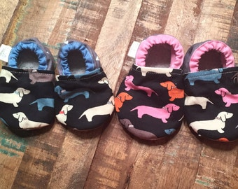 baby booties -wiener dog dachshund. Booties only