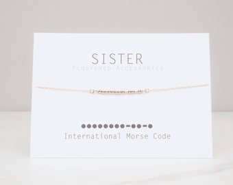 SALE Sister Morse Code Necklace, Gift for Sister, Gold Message Jewelry, Code Necklace, Sister Gift, Gold Morse Code Necklace, Birthday
