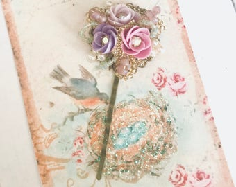 sweet antique brass bobby pin with Swarovski pearls and lavender purple pink porcelain flowers #1063-17