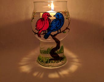 Romantic Gift | Romantic Bedroom Decor, Love Birds, Painted Glass Floating Candle, Couples Gift Valentines Day, Valentine Gift, Gift for Her