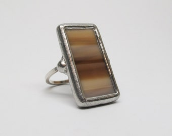 Light Latte - Sterling Silver Stained Glass Ring - Size 8