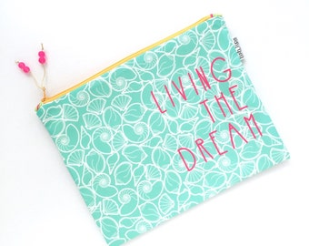 Living the Dream Large Recycled Zipper Pouch, Aqua Seashells Eco iPad Bag + Glass Bead Tassel, Handmade Bag, Gift For Teacher, Beach Love