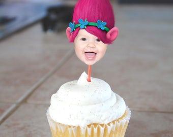 Trolls Inspired Poppy Photo Birthday Cupcake Toppers - Digital File