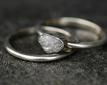 Conflict Free Rough Large Diamond Engagement Ring and Wedding Band in Recycled 10k White or Yellow Gold- One Carat Size C Diamonds