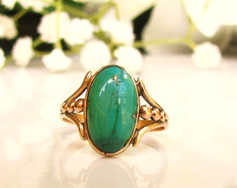 Vintage Oval Cabochon Turquoise Ring 10K Yellow Gold Ring Naturalistic Unique Engagement Ring Something Blue Bridal Jewelry