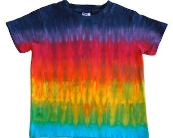 Tie Dye Rainbow Shirt in Horizontal Stripes for kids