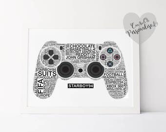 Personalised PS4 Controller, Gamer Room Decor, Game Print, Gifts For Him, Personalised Gamer Tag, Best Dad Gift, Anniversary Gift, Gamer