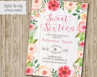 Floral Sweet Sixteen Birthday Invitation, Sweet 16 invitation, Watercolor, Floral, Wood, Rustic, Shabby Chic, Boho Birthday Invitation