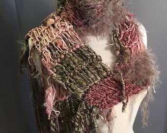 "Fringed soft knit scarf, ""Blush"", Soft Knit Scarf, taupe blush scarves, fringe fashion, yak, handspun yarn scarf, bohemian, wearable art"