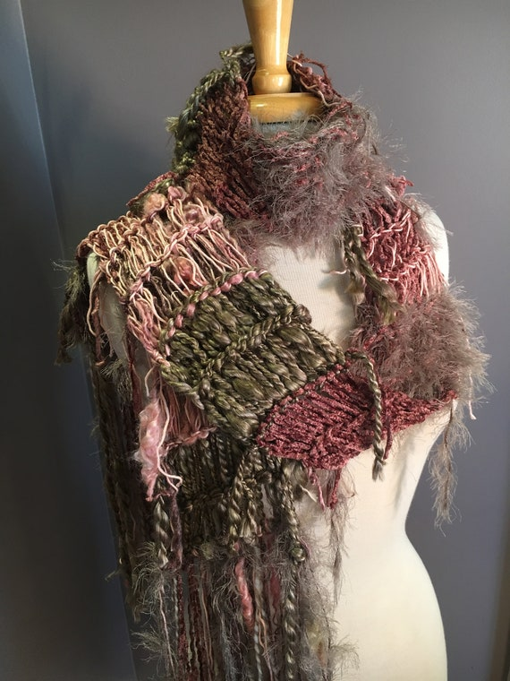 "Fringed soft knit scarf, ""Blush"", Soft Knit Scarf, taupe blush scarves, fringe fashion, yak, handspun yarn scarf, bohemian, wearable art"