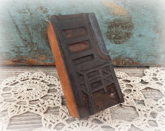 vintage print block letterpress chair stamp printing press wood and metal industrial print block