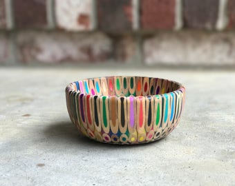 Colored pencil bowl made with resin