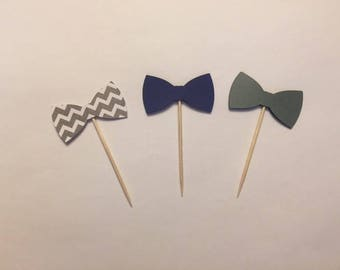 24 Bow tie toothpicks, lil man baby shower, little man birthday, gender reveal party, appetizer picks, food picks, cupcake toppers