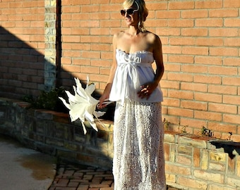 Maternity Wedding Dress Beach-Maternity Wedding Dress-Maternity Dress-Lace Skirt-Hand Crochet Lace Couture Pineapple Maxi-Pregnant Bride
