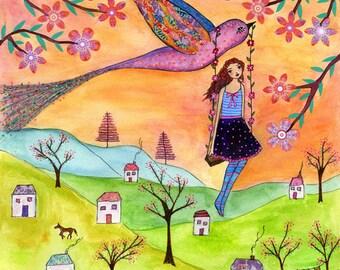 Folk Art Print, Whimsical Nursery Decor, Nursery Art Print, Children Decor, Girl on Swing Painting