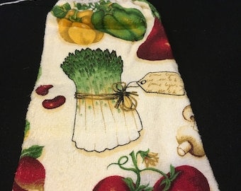 Veggies with Tag Single Sided Kitchen Hand Towel Cream 1