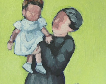 Original painting / acrylic on paper / figurative painting / contemporary art / Grandma and child / retro