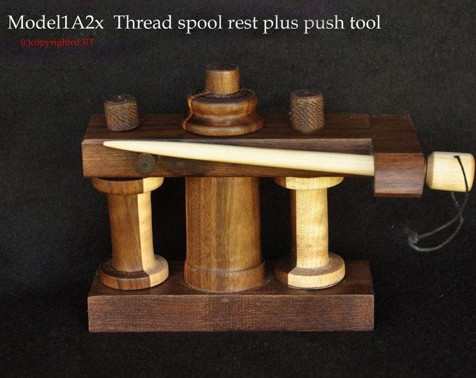 Walnut wood thread spool rest stand  model 1A2x plus mini 7inch push tool.