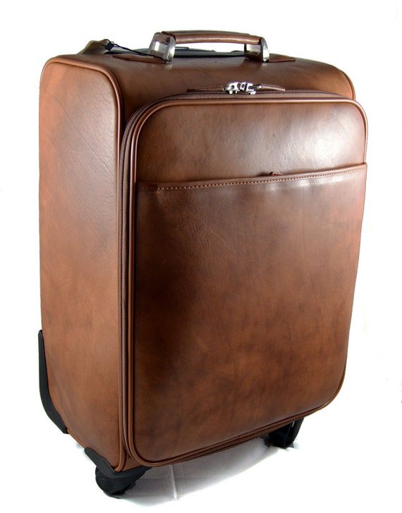 63068bb3e119 Leather trolley travel bag weekender overnight leather bag with wheels  brown leather cabin luggage airplane carryon leather bag