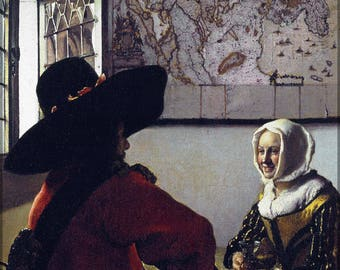 Poster, Many Sizes Available; Officer And A Laughing Girl. Johannes Vermeer