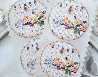 Bingo Stickers - Set of 12 - Vintage Style Stickers-Shabby Stickers-Shabby Envelope Seals-Shabby Labels-Shabby Favor Stickers-Embellishment