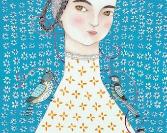 "MarmeeCraft art print, ""Mathilde in Blue"""