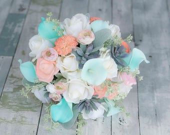 Wedding Turquoise Teal Callas Peach and White Roses Ranunculus Coral Mums Succulent Bride Bouquet