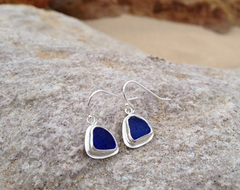 Cobalt Blue Sea Glass Earrings made in Sterling Silver - Sea Glass Collection