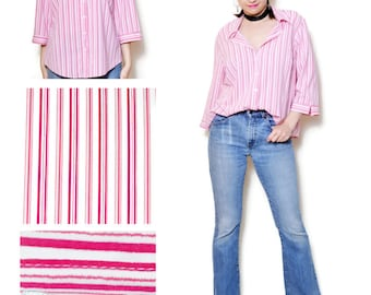 90s pink shirt oversized blouses Striped 90s Pinstripes Baggy Babydoll Cowgirl 90s Pattern Woman School Vintage Vacation Tomboy Oversize